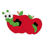 Apple worm la bande dessinée Photographie stock