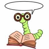Apple worm, les verres de port intelligents catepillar de livre de lecture et le fond parlant de blanc d'illustration de dessin illustration libre de droits