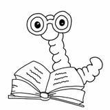 Apple worm, les verres de port intelligents catepillar de livre de lecture et le fond parlant de blanc d'illustration de dessin illustration de vecteur