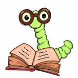 Apple worm, les verres de port intelligents catepillar de livre de lecture et le fond parlant de blanc d'illustration de dessin Image stock