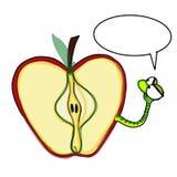 Apple worm parler et le fond fâché de blanc d'illustration de dessin illustration libre de droits