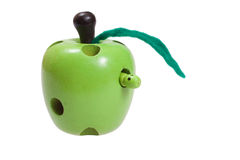 Apple and worm wooden children toys Royalty Free Stock Images