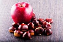 Apple y castañas Fotografía de archivo libre de regalías