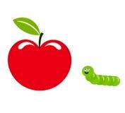 Apple y gusano Imagen de archivo