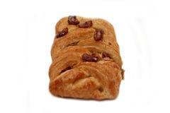 Apple y la pacana trenzan los pasteles daneses en blanco Imagen de archivo libre de regalías