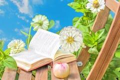Apple y libro en una tabla de madera y zinnias de las flores Fotos de archivo libres de regalías