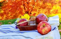 Apple y miel, comida tradicional del Año Nuevo judío - Rosh Hashana Imágenes de archivo libres de regalías