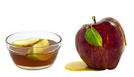 Apple y miel en blanco Foto de archivo libre de regalías