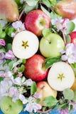 Apple y peras en la composición de la bola Fotografía de archivo