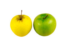 Apple yellow green stand light lanch on a white background Royalty Free Stock Photos