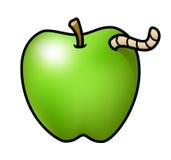 Apple z dżdżownicą Obraz Stock
