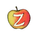 Apple z illustration. Illustration of an apple with the character z, symbolizing a key combination Royalty Free Stock Images