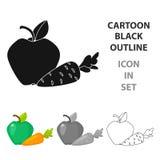 Apple z marchwianą ikoną w kreskówka stylu odizolowywającym na białym tle Stomatologicznej opieki symbolu zapasu wektoru ilustrac Obraz Stock