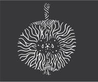 Apple zentangle Διανυσματική απεικόνιση, απομονωμένες άσπρες γραμμές στο σκοτεινό υπόβαθρο διανυσματική απεικόνιση