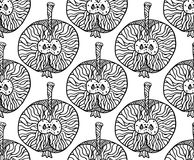 Apple zentangle pattern for print or disign. Vector illustration, black on white. Apple zentangle seamless pattern for disign on any background. Vector Royalty Free Stock Photo