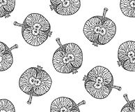 Apple zentangle pattern for print or disign. Vector illustration, black on white. Apple zentangle seamless pattern for disign on any background. Vector Stock Photography