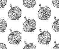 Apple zentangle pattern for print or disign. Vector illustration, black on white. Apple zentangle seamless pattern for disign on any background. Vector Stock Images