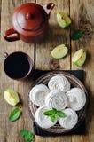 Apple Zephyr σε ένα πιάτο με τα μήλα και τη μέντα Στοκ φωτογραφίες με δικαίωμα ελεύθερης χρήσης