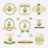 Apple - zieleń, set etykietka projekt royalty ilustracja