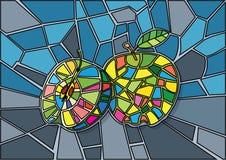 Apple - zielony witraż ilustracja wektor