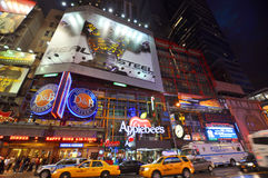 Applebee's near Times Square, New York City. Applebee's at night near Times Square on 42th street, New York City, USA stock photos