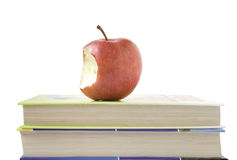 AppleBook. Apples on Books isolated on white backgrouns Stock Photo