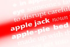 Applejack. Apple jack word in a dictionary. apple jack concept Royalty Free Stock Images