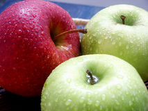 Apples. One red apple and two green Royalty Free Stock Photos