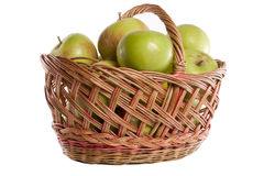 Apples. Brown basket full of red and green apples Stock Photography