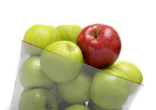 Red and green apples in vase Stock Photos