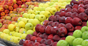Apples. Different varieties of apples displayed in a produce stand Stock Photography