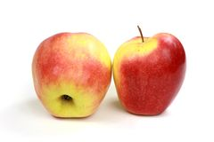 Apples. Two apples on white background stock photos