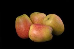 Apples. Four apples on black background Royalty Free Stock Photography