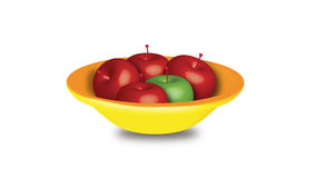 Apples. Red apples and green apple placed in yellow bowl , vector 3D illustration created in illustrator Royalty Free Stock Image