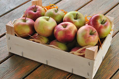 Apples. In a wooden box Stock Photography