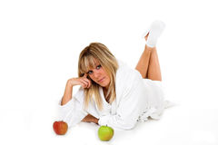 Apples. Young girl with apples. Health concept Stock Image