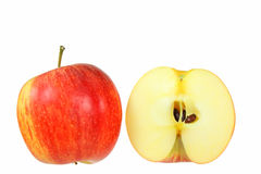 Apples. Sliced in Half / Cut Open isolated on a white Background Stock Photos