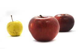 Apples. Two red apples and one green are isolated on white Stock Photo
