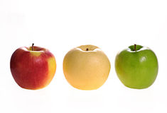 Apples. Three apples on white background. red, green and yellow Royalty Free Stock Image