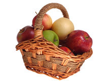 Apples. Variety of apples in basket with white background stock photography