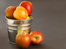 Apples. Fresh apples in a metal tin Stock Photo