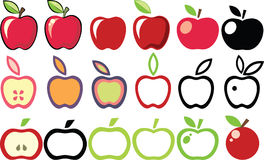 Apples. Set of apple illustrations and pictograms Stock Photography