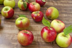 Apples. Red and green apples on a wooden background Stock Image