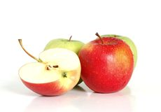 Apples. Close up of red and green apples isolated on a white background Royalty Free Stock Photo