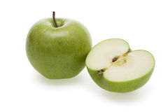 Apples. Two tasty green apples isolated on white background Stock Images
