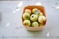 Apples. Plastic box full of apples Stock Image