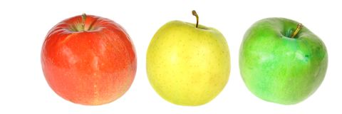 Apples. Composition of red yellow and green apples isolated on white Royalty Free Stock Photos