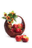 Apples. Basket whit apples isolated on white background Royalty Free Stock Photo