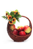 Apples. Basket whit apples isolated on white background royalty free stock photos