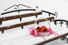 Apples. In a basket on a snow suit for the holiday apple saved Royalty Free Stock Photography